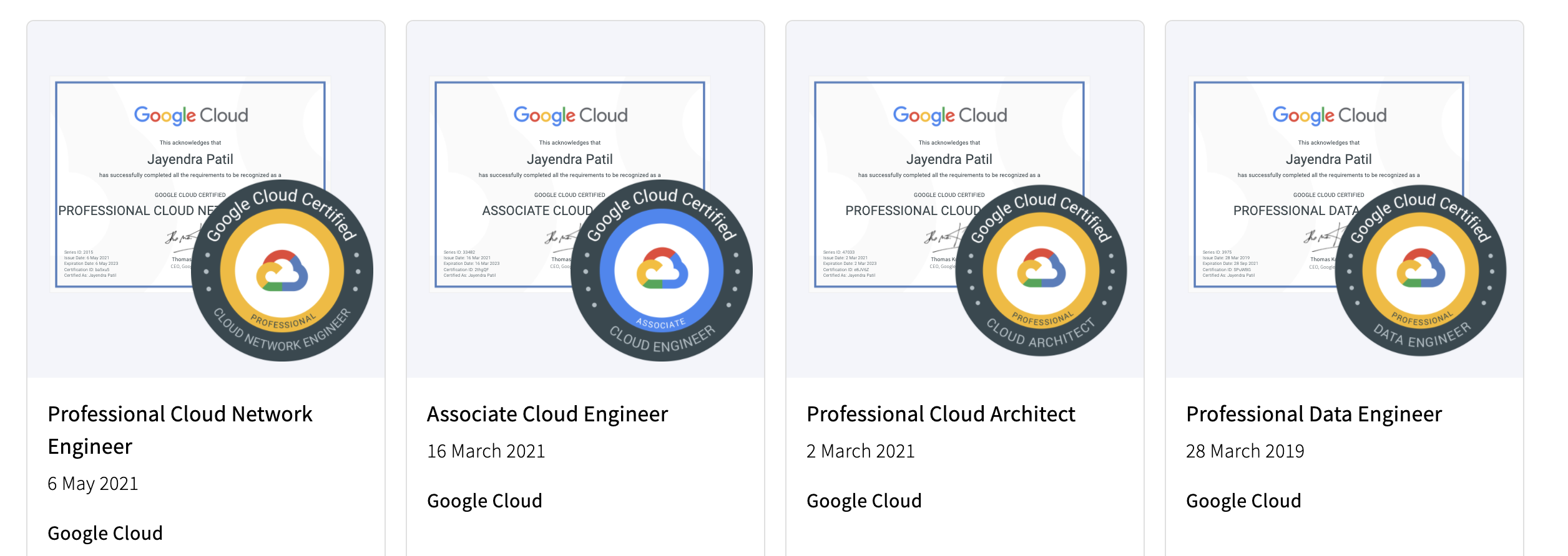 GCP Certifications